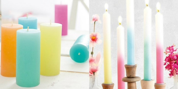 collage gekleurde kaarsen